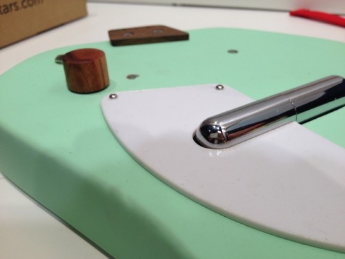 Detail on Green Electric Loog Guitar