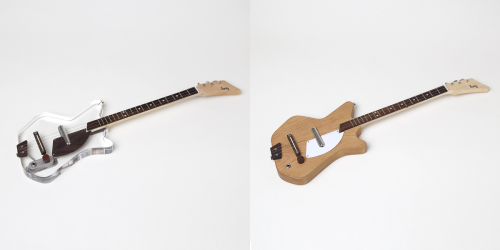 See-through and all-wood Electric Loog Guitars